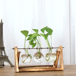 bamboo vases 2019 - Creative Hydroponic Plant Transparent Vase Wooden Frame Coffee Shop Room Decr cheap bamboo vases