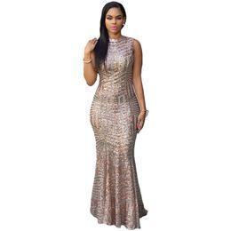 Ladies Night Evening Dresses UK - S-L new long sequined dress lady o neck sleeveless backless fishtail mermaid dress brand women night evening party maxi dress