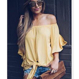Off Shoulder Blouse Cotton Australia - 2019 New Women Blouse Off Shoulder Elegant Shirt Women Casual Loose Cotton Shirt Tops Slash Neck Womens Tops and Blouses