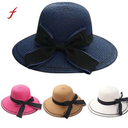 157e23fb771 feitong Sun hat Floppy Foldable Ladies Women Bow Straw Beach Sun Summer Hat  Wide Brim pamelas grandes  3