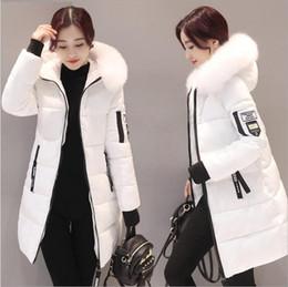 5391e1d606d1 Mulheres com capuz casaco quente jaquetas de inverno Grande gola de pele  chapéus longo parka de algodão acolchoado jaqueta feminina mulheres  amassado plus ...