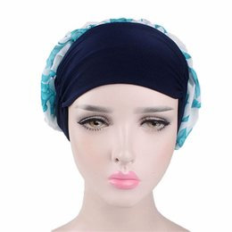 Chinese  Women Chiffon Muslim Bandanas Cap Stretch Turban Cancer CheHats Hair Accessories Headwear Long Hair Head Scarf Spring summer manufacturers