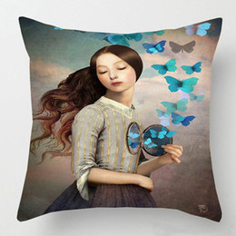 handmade painting sofa cushion 2020 - Surreal Girl With Bird Painting Cushion Cover 17 Style Flower Butterfly Cushion Cover Decorative Linen Cotton Pillow Cas