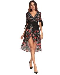 $enCountryForm.capitalKeyWord UK - 2018 spring and summer new dress, Bohemia printed skirt, V collar irregular chiffon dress, factory direct sales, color black