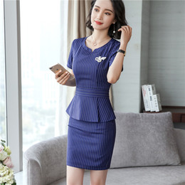 $enCountryForm.capitalKeyWord Canada - Elegant Slim Fashion 2 Piece Tops And Skirt For Ladies Beauty Formal Uniform Styles Blazers Sets Summer Work Wear
