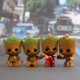 mini figure marvel Canada - Marvel Movie Guardians Of The Galaxy 2 4pcs set Brinquedos Mini Cute Baby Tree Man Dancing Model Action Toy Figure Car Ornaments