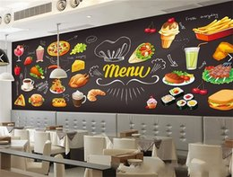Large decaL stickers online shopping - Hand Paint Pizza Dessert Hamburger Decal Nonwoven Fabric Wall Sticker Large Mural Pasta Fast Foods Western Restaurant Wallpaper mn gg