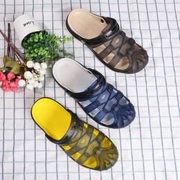 Men Beach Clogs Canada - Breathable Hollow Out Flip Flops rubber garden shoes or clogs men outdoor beach Leisure male sandals lazy mesh Wading Sandals TX805