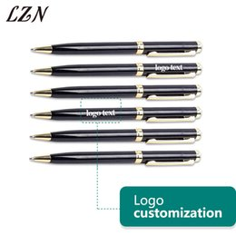 $enCountryForm.capitalKeyWord Australia - LZN Free Customlized Name Date Text for Your Wedding with Rotating Black with Gold Metal Ballpoint Pen as Gifts for Guests