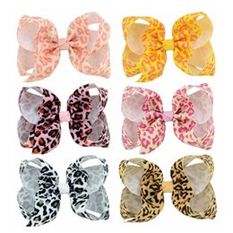 $enCountryForm.capitalKeyWord Canada - 24 Pcs 4 Inch Leopard Print Grosgrain Ribbon Hair Bow With Clip Kids Hair Clips Hairpins Barrettes Beautiful HuiLin C178