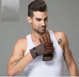Chinese  Latest Fashion High Quality Men's Winter Outdoor Riding Gloves Warm Cotton Gloves Solid Color Free Size Men Touch Screen Gloves manufacturers