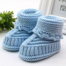 Discount infants crocheted booties - Woolen Baby Snow Shoes Infants Crochet Knit Fleece Boots Bowknot Toddler Girl Boy Wool Crib Shoes Winter Warm Booties 0-