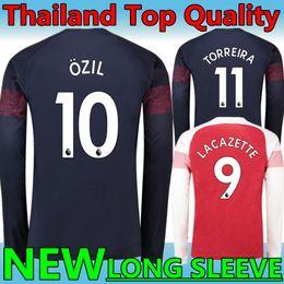 324cf4a4b25 New 2018 19 Arsenal  10 OZIL  9 LACAZETTE Away blue Long sleeve Soccer  Jerseys 2019 Gunners  14 AUBAMEYANG WILSHERE XHAKA Football uniforms