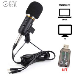 Wholesale GEVO MK F200FL Condenser Microphone For Computer Studio Profesionales mm Wired Stand USB Mic For PC Karaoke Laptop Recording