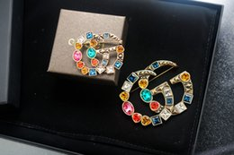 $enCountryForm.capitalKeyWord Australia - jiangyu Top Quality Celebrity design Luxury Letter Large diamond Brooch decorations Fashion Letter Set 2pc brooch Jewelry With Box