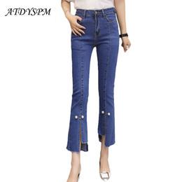 $enCountryForm.capitalKeyWord Australia - Women Fashion Denim Flare Pants Skinny Jeans Pants Vintage Washed Split Irregular Tassel Slim Women Jeans Casual Blue