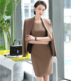 Discount dress styles for working women - 2018 New Styles EleApricot 2 Piece Blazes Suits With Tops And Dress For Women Uniform Styles Spring Fall Business Work S