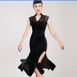 f008dd418fce Free Shipping Adult Girl Latin Dance Dress Salsa Tango Chacha Ballroom Competition  Dance Dress Mesh Stitching Sexy V-Collar Velvet Dress