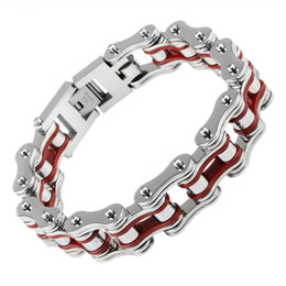 $enCountryForm.capitalKeyWord Canada - Punk Motorcycle Chain Men 's Bracelets Red Black Gold Color Mixed Color Block Biker Cool Man Stainless Steel Jewelry