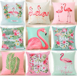 Violet plants online shopping - Summer Tropical Plants Hibiscus Flower Cushion Cover Flamingo Bird Vibes Cactus Cushion Covers Soft Decorative Pillow Case For Sofa Couch