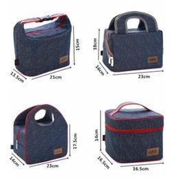Picnic Ice Packs Australia - 2018 Factory Sale high quality Denim picnic Bag Kid Bento Box Insulated Pack Picnic Drink Thermal Ice Cooler bag bole