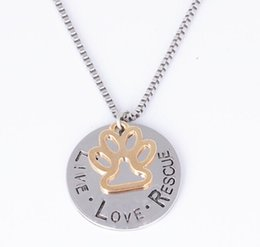 $enCountryForm.capitalKeyWord Australia - 2018 Sunshine Live Love Rescue Pet Adoption Pendant Necklace Hand Stamped Personalized Animal Shelter Pet Rescue Paw Print Cat Dog Lover