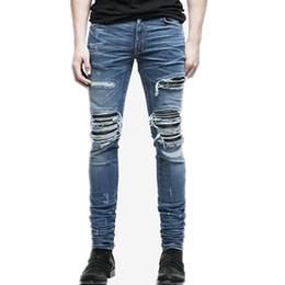Wholesale Jeans Slim UK - Wholesale- 2017 Aakar shan Men's Jeans Summer Ripped Skinny Biker Jeans Destroyed Frayed Slim Fit Denim Pants Pencil Pants Regular Fash
