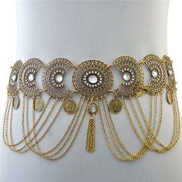 $enCountryForm.capitalKeyWord Australia - Womans Openwork crystal waist chain tassel geometry coin long metal chain luxury belly fringed belt dance for evening wear