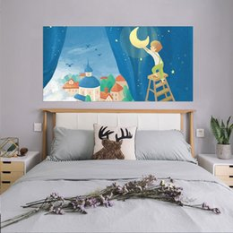 stick art children NZ - 3D Vivid Boy Drawing Vinyl DecalsWhale On The Moon Painting Bed Headboard Wall Sticker Kids Children Bedroom Home Decoration
