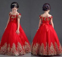 Girls beauty paGeant dresses blue online shopping - Beauty Red Girls Pageant Dresses Off Shoulder Applique Lace Ball Gown Flower Girls Dress For Wedding Communion Teens