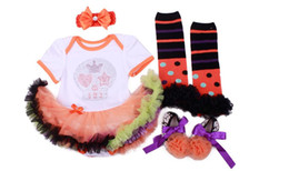 Winter skirt suits online shopping - Newborn babies halloween clothes sets Pumpkin skull short sleeve tutu bubble skirts headband socks and shoes suit baby suit