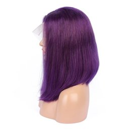 Remy bob wigs online shopping - Purple Bob Wigs Brazilian Silky Straight Human Hair Lace Front Wig For Black Woman Remy Hair