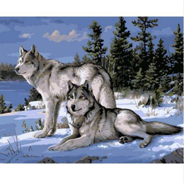 Discount wolf landscape paintings - No Frame Wolf Animals DIY Painting By Numbers Kits Paint On Canvas Acrylic Coloring Painitng By Numbers For Home Wall De