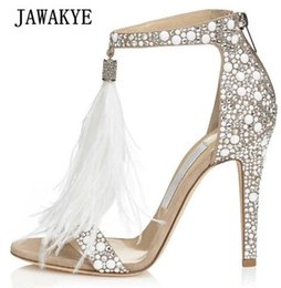 45b350126879f7 2018 Luxury Rhinestone Feather Gladiator Sandals Woman Open Toe Bling  Fringe Tassel High Heel Shoes Women Sexy Wedding Shoes