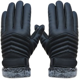 Leather Gloves For Men NZ - Naiveroo Men Winter Warm Gloves Retro Thickened PU Leather Touchscreen Gloves Plush Cuff Outdoors Anti-skid for Men