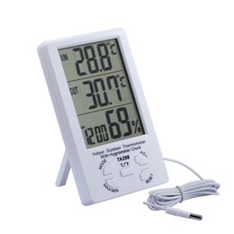 $enCountryForm.capitalKeyWord UK - Indoor Outdoor Temperature Meter LCD Display Clock hygrometer Household Digital Thermometer Hygrometer with External Probe Sensor TA298
