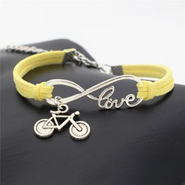 cycle pendant Australia - 2019 Hot Fashion Infinity Love Bike Cycling Bicycle Pendant Bracelet For Women Men Popular Yellow Leather Suede Rope Charm Jewelry Wholesale