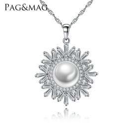 Pearl Necklaces Pendants NZ - PAG&MAG Female Snowflake Necklace Real 925 Sterling Silver Jewelry High Quality Natural Pearl Pendant For Women Christmas Gifts