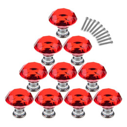 $enCountryForm.capitalKeyWord Australia - 10Pcs  Set 30mm Crystal Glass Diamond Shape Cabinet Knobs Cupboard Drawer Pull Handles - Red