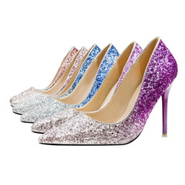 $enCountryForm.capitalKeyWord UK - Spring Pointed Toe Women Shoes Comfortable Glitter Sequined Cloth Wedding Party Shoes Bridal Pumps Plus 11cm
