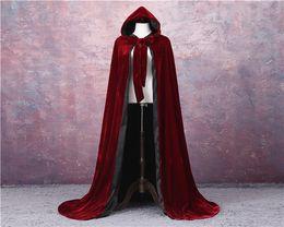 Nylon Coating Australia - Wine Red Black Velvet Hooded Cloak Wedding Cape Halloween Wicca Robe Coat S-6XL Christmas Medieval Velvet Hooded Cloak Wicca Witchcraft