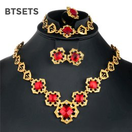 a236c173b3b8 BTSETS Nigerian African Beads Jewelry Set baratos conjuntos de joyería de  moda para mujeres Rhinestone Costume Wedding Flower Jewellery Sets
