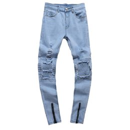 slim tapered jeans NZ - Distressed Ripped Men Jeans Skinny Pants Slim Fit Streetwear Hip Hop Male Denim Trousers Stretch Moto Biker Tapered Patch Jogger