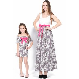 matching mother daughter clothing wholesale Canada - Mother and Daughter Clothes 2018 Summer Dresses Family Clothing Floral Print Dresses Fashion Bowknot Design Matching Mother Daughter Cloth