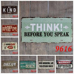 retro home bars 2019 - 15*30cm Vintage Retro Metal Sign Poster Restaurant Bar Letter poem Plaque Bar pub Club Wall Home art metal Painting Wall