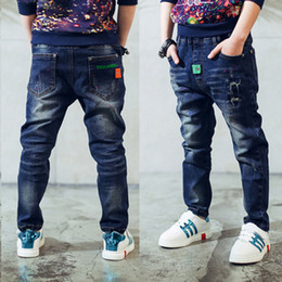 Jeans For Big Waist Canada - high-quality 2017 newset spring autumn children's clothes solid denim thin baby boys jeans for big size kids boys causal jeans