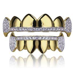 18k реальные золотые зубы Grillz крышки оттаявшим верхним дном вампир клыки зубной гриль набор Оптовая