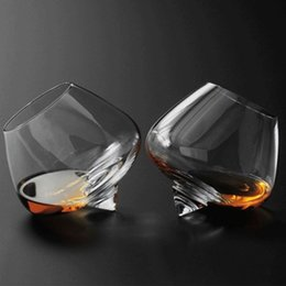 Wholesale swing cut resale online – 2pcs set Crystal Wine Glass Cup Swinging Whiskey GLASSES Spirit Drinking Tumble Transparent Glasses Drink Cocktail Beer holder ml ml