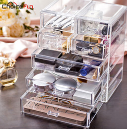 sell desktop 2019 - Best Selling Large Desktop Clear Acrylic Drawers Casket Big Plastic Storage Makeup Cosmetic Organizer For Decorations ch