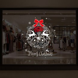 Christmas Window Stickers For Shops NZ - Merry Christmas Elk Celebration Window Glass New Year Shop Decoration Sticker Removable Christmas Decorations for Home Navidad Y18102609